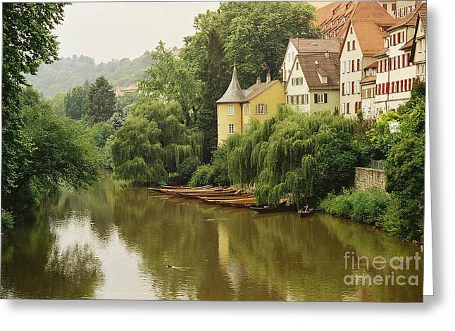 Row Boat Greeting Cards - Tuebingen, Germany Greeting Card by Holly C. Freeman
