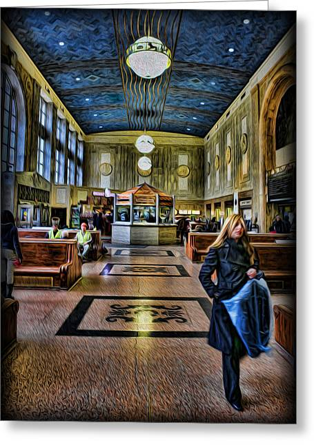 Twentieth Century Greeting Cards - Tuesday Afternoon at the Train Station Greeting Card by Lee Dos Santos