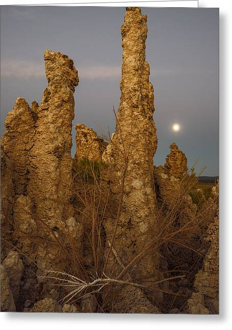 After Sunset Greeting Cards - Tufas at Monolake and full moon Greeting Card by Vishwanath Bhat