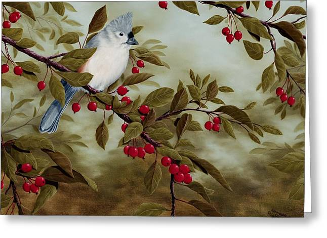 Red Fruit Greeting Cards - Tufted Titmouse Greeting Card by Rick Bainbridge