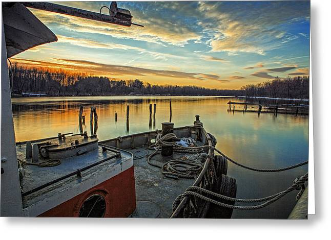Tug Greeting Cards - Tug at sunrise Greeting Card by Everet Regal