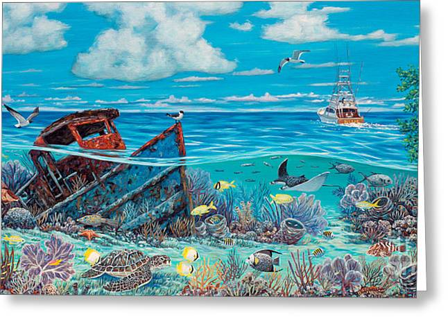 Hog Fan Greeting Cards - Tug Boat Reef Greeting Card by Danielle  Perry