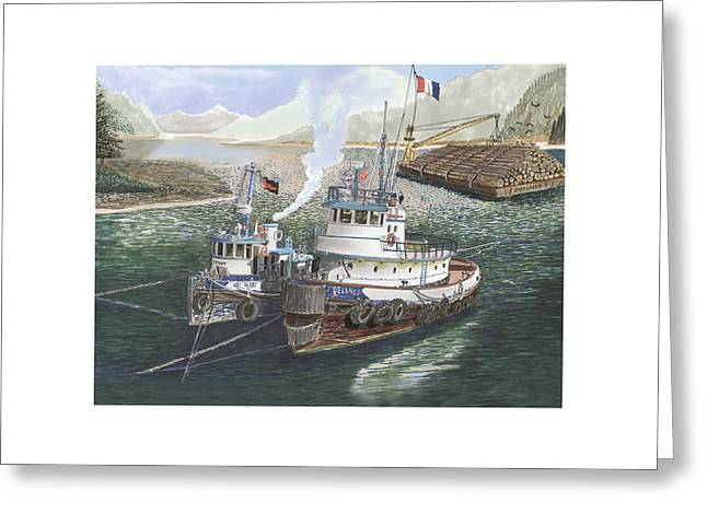 Boats In Harbor Greeting Cards - Two Tug boats anchored in Safe Harbor Greeting Card by Jack Pumphrey