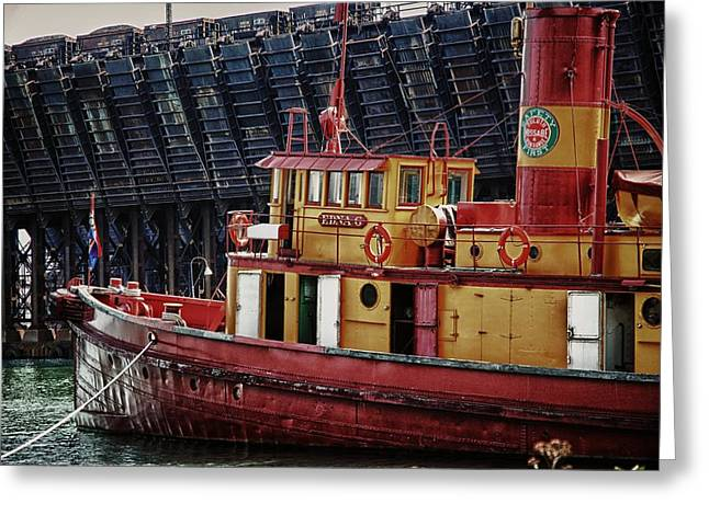 Water Vessels Mixed Media Greeting Cards - Tug Edna G Greeting Card by Todd and candice Dailey