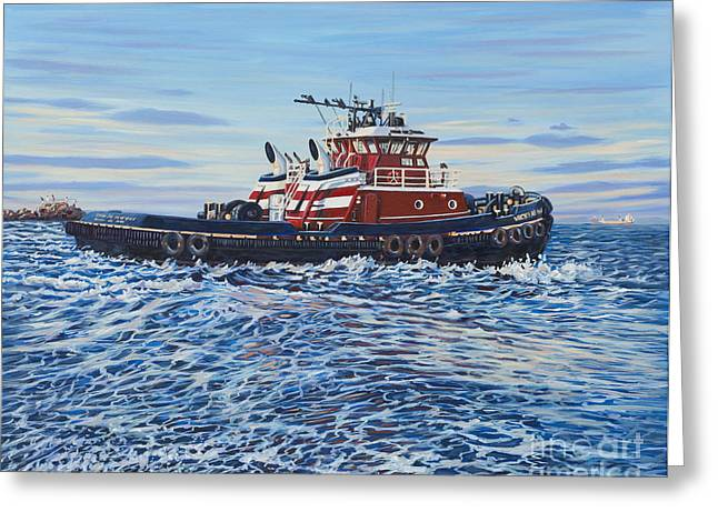 Danielle Perry Greeting Cards - Tug of the Ocean Greeting Card by Danielle  Perry