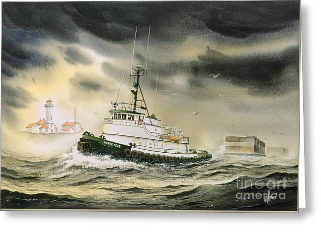 Tug Greeting Cards - Tugboat AGNES FOSS Greeting Card by James Williamson