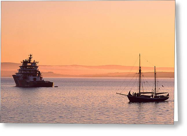 Tall Ships Greeting Cards - Tugboat And A Tall Ship In The Baie De Greeting Card by Panoramic Images