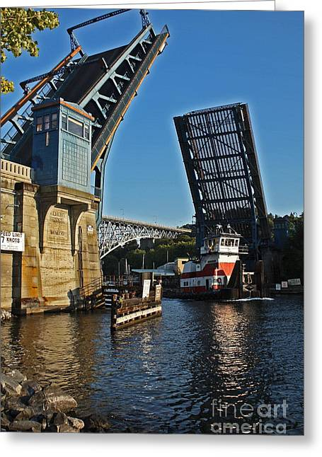 Double Bicycle Greeting Cards - Tugboat and Fremont Bridge Greeting Card by Donald Sewell