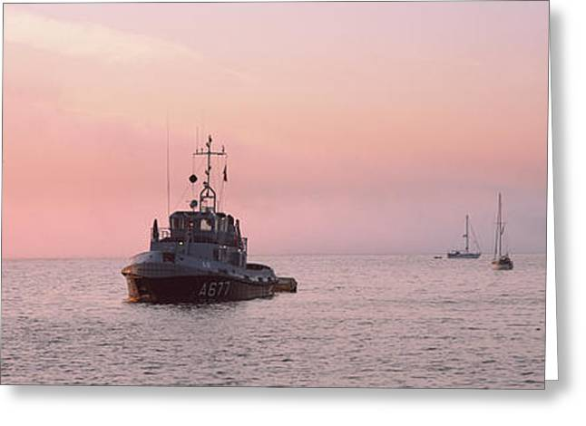 Tugboat And Tall Ships In The Ocean Greeting Card by Panoramic Images