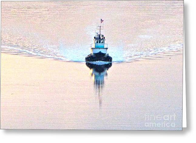 Commencement Bay Greeting Cards - Tugboat at dawn Greeting Card by Sean Griffin