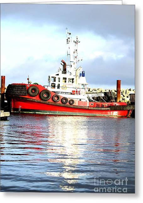 Artist Working Photo Photographs Greeting Cards - Tugboat Captain Greeting Card by Alanna Dumonceaux