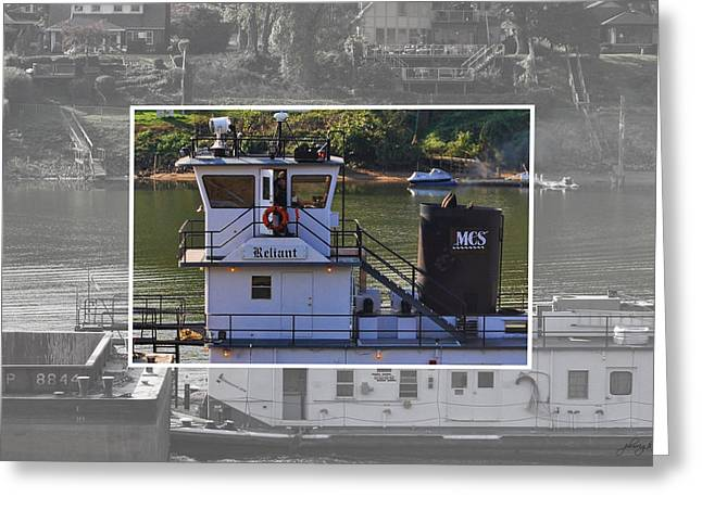 Barges Greeting Cards Greeting Cards - Tugboat Captain - Kanawha River Greeting Card by Paulette B Wright
