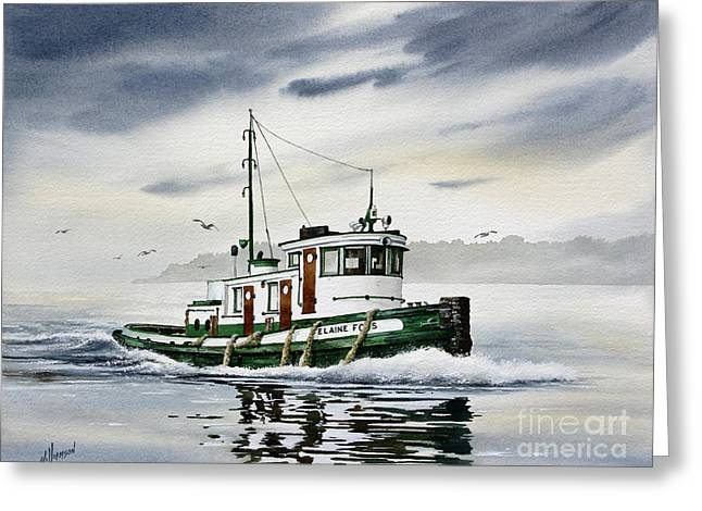 Seattle Framed Prints Greeting Cards - Tugboat ELAINE FOSS Greeting Card by James Williamson