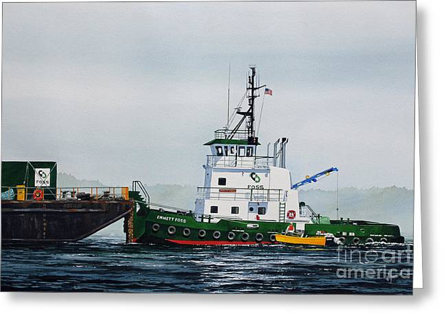 Barges Greeting Cards Greeting Cards - Tugboat EMMETT FOSS Greeting Card by James Williamson