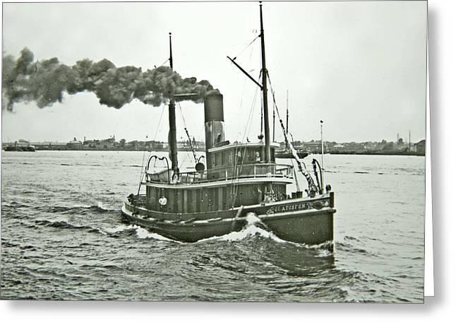 Hudson River Tugboat Greeting Cards - Tugboat Gladisfen Hudson River c 1900 Vintage Photograph Greeting Card by A Gurmankin