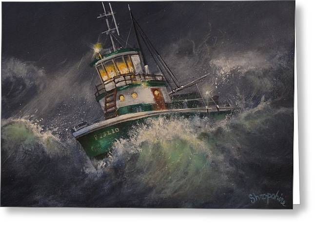 Flounder Greeting Cards - Tugboat in Trouble Greeting Card by Tom Shropshire
