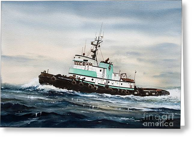 Artist James Williamson Maritime Print Greeting Cards - Tugboat ISLAND CHAMPION Greeting Card by James Williamson