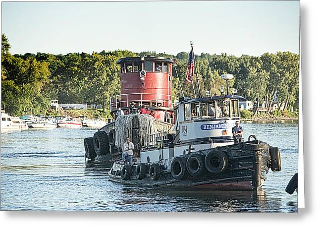 Hudson River Tugboat Greeting Cards - Tugboat Greeting Card by Mary Beth D