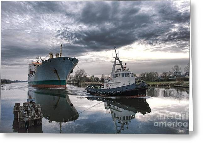 Pulling Greeting Cards - Tugboat Pulling a Cargo Ship Greeting Card by Olivier Le Queinec