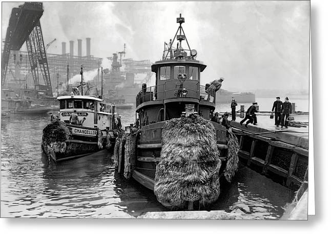 Boats At Dock Greeting Cards - Tugboat Winter  1946 Greeting Card by Daniel Hagerman