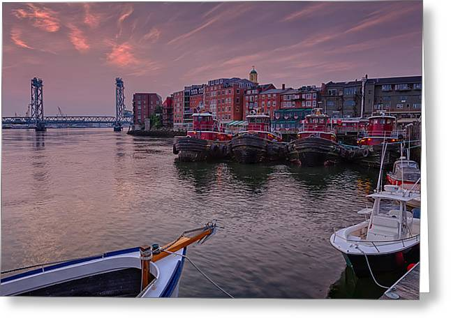 Fishing Boats Greeting Cards - Tugboats Portsmouth New Hampshire Greeting Card by Jeff Sinon