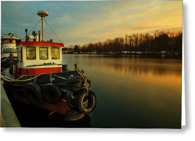 Tug Greeting Cards - Tugs at sunrise Greeting Card by Everet Regal