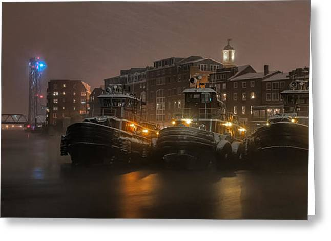 Tugs In The Snow Greeting Card by Scott Thorp