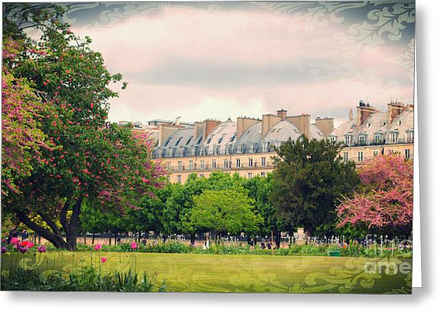 Tuileries Greeting Cards - Tuileries Gardens with Damask Texture Greeting Card by Heidi Hermes
