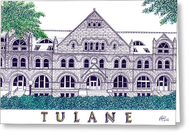 Best Sellers -  - Pen And Ink Drawing Greeting Cards - Tulane Greeting Card by Frederic Kohli