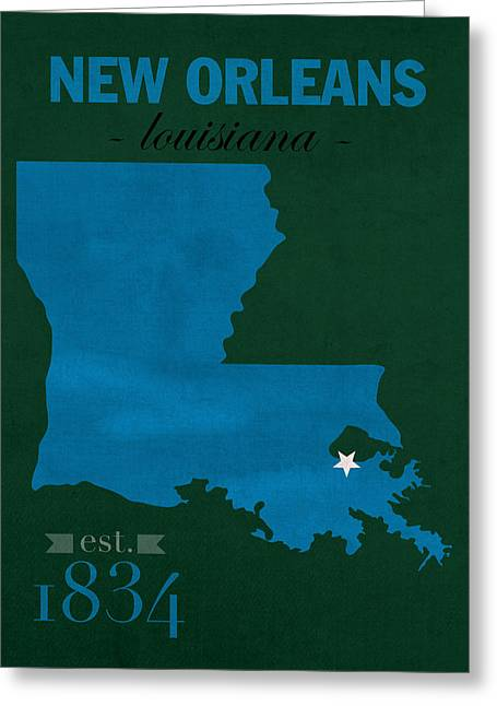 Tulane Greeting Cards - Tulane University Green Wave New Orleans Louisiana College Town State Map Poster Series No 114 Greeting Card by Design Turnpike