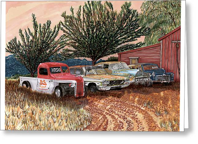 Station Wagon Drawings Greeting Cards - Tularosa Motors Greeting Card by Jack Pumphrey