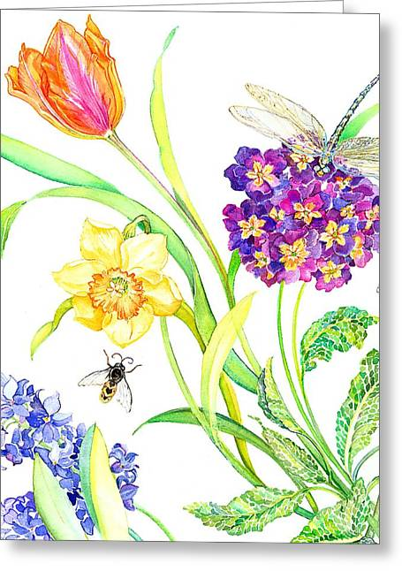 Flora And Fauna Greeting Cards - Tulip and Dragonfly Greeting Card by Kimberly McSparran