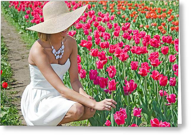 Strapless Dress Greeting Cards - Tulip Beauty Greeting Card by Maria Dryfhout