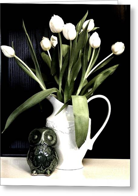 Ceramic Digital Greeting Cards - Tulip Bouquet and Owl Greeting Card by Marsha Heiken