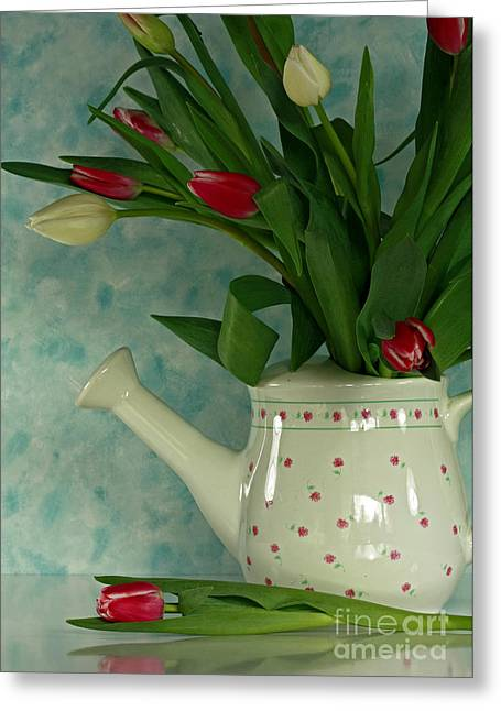 Fushia Greeting Cards - Tulip Bouquet in Watering Can Greeting Card by Inspired Nature Photography By Shelley Myke