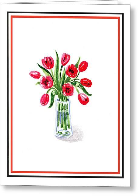Landscape. Scenic Greeting Cards - Tulip Bouquet Greeting Card by Irina Sztukowski