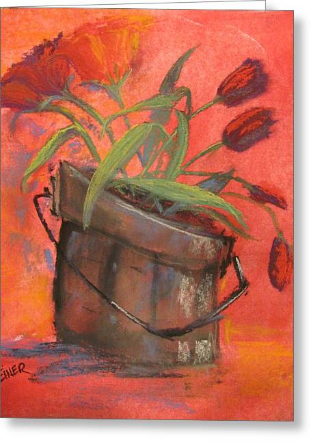 Puddle Pastels Greeting Cards - Tulip Bucket Greeting Card by Terri Einer
