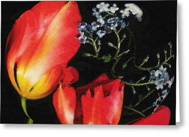 Spring Bulbs Mixed Media Greeting Cards - Tulip Canvas Greeting Card by Dennis Buckman