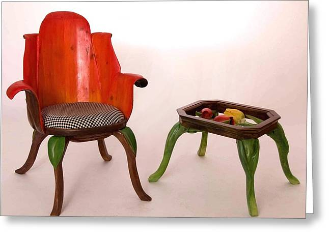 Table Sculptures Greeting Cards - Tulip chair and table Greeting Card by Hans Droog