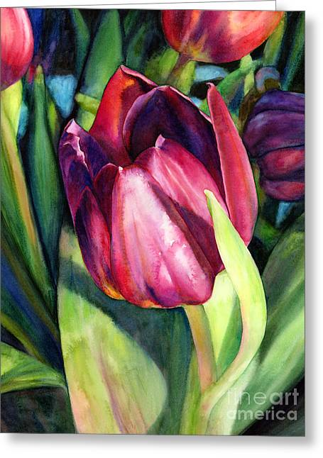 Pink Tulip Greeting Cards - Tulip Delight Greeting Card by Hailey E Herrera
