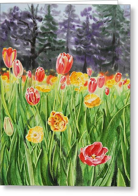 Golden Gate Paintings Greeting Cards - Tulip Garden in San Francisco Greeting Card by Irina Sztukowski