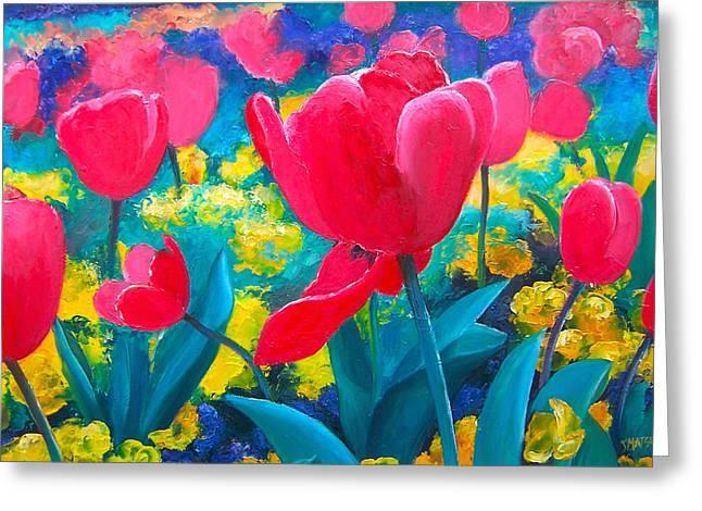 Modern Canvas Art Photo Greeting Cards - Tulip Garden Greeting Card by Jan Matson