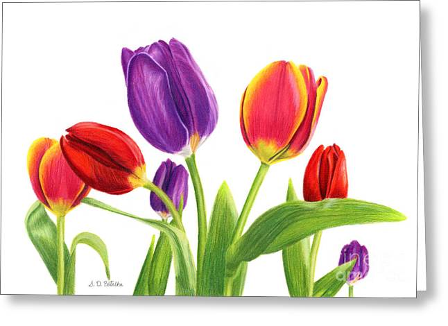 Pinks And Purple Petals Greeting Cards - Tulip Garden On White Greeting Card by Sarah Batalka