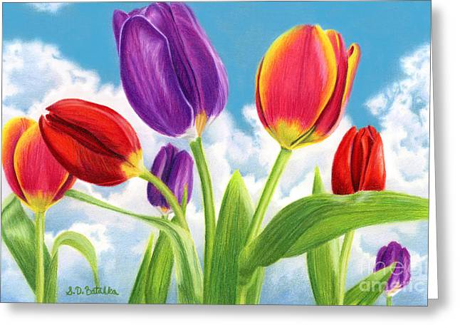 Tulip Garden Greeting Card by Sarah Batalka