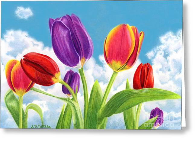 Blue Flowers Drawings Greeting Cards - Tulip Garden Greeting Card by Sarah Batalka