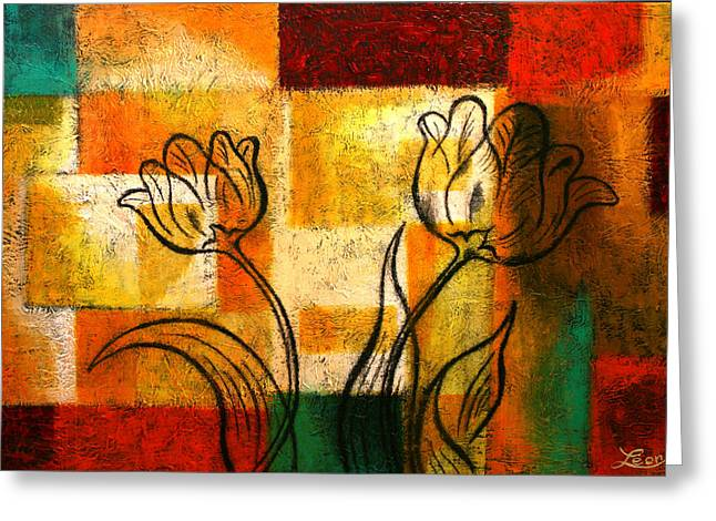 Floral Canvas Greeting Cards - Tulip Greeting Card by Leon Zernitsky