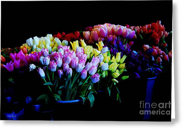 Reception Greeting Cards - Tulip Market Greeting Card by Cheryl Young