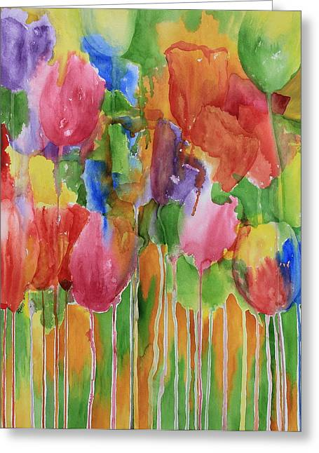 Undefined Greeting Cards - Tulip Palooza Greeting Card by Rhonda Leonard