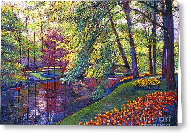 Gardenscapes Greeting Cards - Tulip Park Greeting Card by David Lloyd Glover