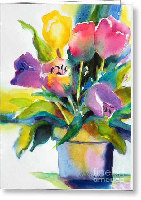 Tulip Pot Greeting Card by Kathy Braud